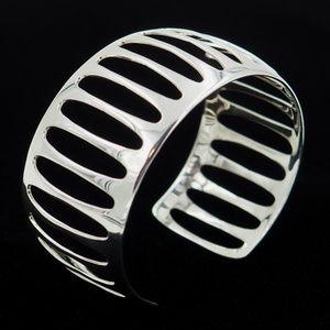 Jewelry - Stunning Retro Modernist silver 925 Cuff Bracelet
